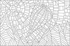 Konturowa witraż ilustracja balon z górami w tle Obraz Stock