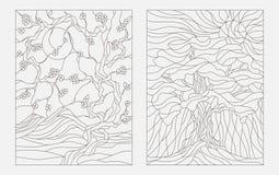 Konturowe ilustracje w stylu witrażu okno z abstrakcjonistycznymi drzewami Zdjęcie Royalty Free