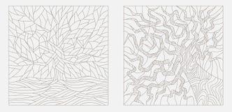 Konturowe ilustracje w stylu witrażu okno z abstrakcjonistycznymi drzewami Obrazy Royalty Free