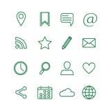 Konturowe ogólnospołeczne medialne ikony ustawiać ilustracji
