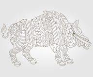 Konturowy abstrakcjonistyczny wizerunek dziki knur Zdjęcie Stock