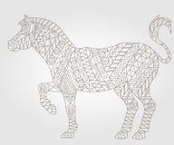 Konturowy abstrakcjonistyczny wizerunek malował zebry, ciemny kontur na lekkim tle Obraz Stock