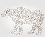 Konturowy abstrakcjonistyczny wizerunek niedźwiedź, ciemny kontur na lekkim tle Obraz Stock