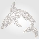 Konturowy abstrakcjonistyczny wizerunek rekin, ciemny kontur na lekkim tle Zdjęcia Stock