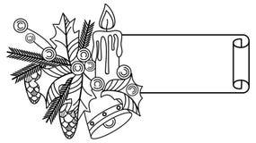 Konturowy Bożenarodzeniowy sztandar z uświęconą jagodą, oświetleniową świeczką i sosna rożkami, ilustracji