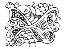 Konturowy czarny i biały, abstrakcjonistyczny rysunek, rysuje z kwiecistym ornamentem kwiaty i skrobaniny ilustracji