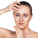 Konturowy i główna atrakcja makeup Fotografia Royalty Free