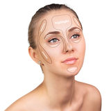 Konturowy i główna atrakcja makeup Zdjęcia Royalty Free
