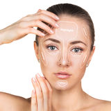 Konturowy i główna atrakcja makeup Obrazy Stock