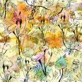 Konturowy kwiecisty wzór na abstrakcjonistycznym akwareli tle Zdjęcie Royalty Free