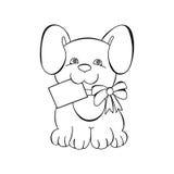 Konturowy pies z pocztówką Zdjęcia Stock