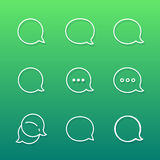 Konturowy rozmowa bąbla wiadomości i komentarza logo ilustracja wektor
