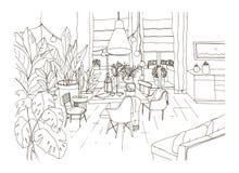 Konturowy rysunek wygodny łomota lub żyje pokój meblujący w modnym Scandic hygge stylu z stołem, krzesła, leżanka hol royalty ilustracja
