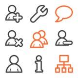 konturowych szarych ikon pomarańczowa serii użytkowników sieć Zdjęcia Royalty Free