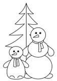 konturpäls kastar snöboll treen Stock Illustrationer
