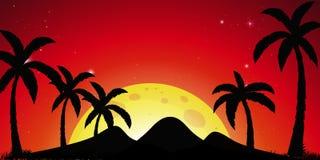 Konturplats med kokospalmer och röd himmel stock illustrationer