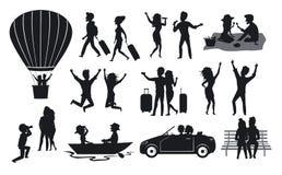 Kontursamlingen av män och kvinnan, par som reser med resväskor, på ritt för ballong för varm luft, sjunger, dansar, i parkera på stock illustrationer