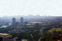 Kontursikt av Manila horisont Royaltyfri Bild