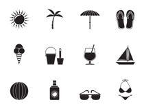 Kontursommar, ferie och strandobjekt royaltyfri illustrationer
