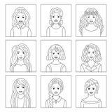 Kontursymboler av kvinnor Arkivbilder