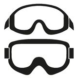 Kontursymbolet av den klassiska snowboarden skidar skyddsglasögon vektor illustrationer