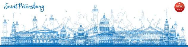 Konturu świętego Petersburg linia horyzontu z błękitnymi punktami zwrotnymi ilustracji