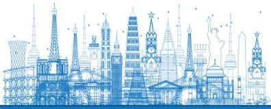Konturu światu sławni punkty zwrotni również zwrócić corel ilustracji wektora Obrazy Royalty Free