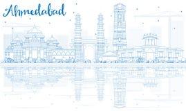 Konturu Ahmedabad linia horyzontu z Błękitnymi odbiciami i budynkami ilustracja wektor