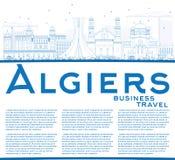 Konturu Algiers linia horyzontu z Błękitną kopii przestrzenią i budynkami Zdjęcia Royalty Free