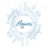 Konturu Algiers linia horyzontu z Błękitną kopii przestrzenią i budynkami Fotografia Stock