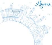 Konturu Algiers linia horyzontu z Błękitną kopii przestrzenią i budynkami Fotografia Royalty Free