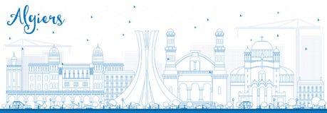 Konturu Algiers linia horyzontu z Błękitnymi budynkami Obrazy Stock