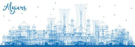 Konturu Algiers linia horyzontu z Błękitnymi budynkami Zdjęcia Stock