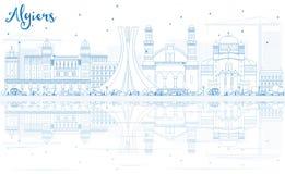 Konturu Algiers linia horyzontu z Błękitnymi odbiciami i budynkami Zdjęcie Royalty Free
