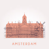 Konturu Amsterdam linia horyzontu royalty ilustracja