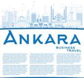 Konturu Ankara linia horyzontu z Błękitną kopii przestrzenią i budynkami Obrazy Royalty Free