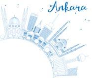 Konturu Ankara linia horyzontu z Błękitną kopii przestrzenią i budynkami Obraz Stock