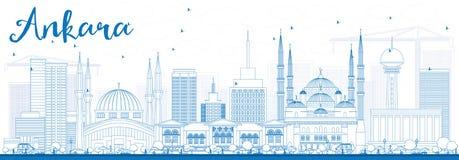 Konturu Ankara linia horyzontu z Błękitnymi budynkami Obraz Royalty Free