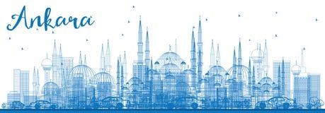 Konturu Ankara linia horyzontu z Błękitnymi budynkami Zdjęcie Stock