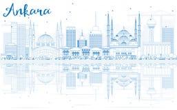 Konturu Ankara linia horyzontu z Błękitnymi odbiciami i budynkami Fotografia Royalty Free