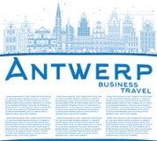 Konturu Antwerp linia horyzontu z Błękitną kopii przestrzenią i budynkami Obraz Royalty Free