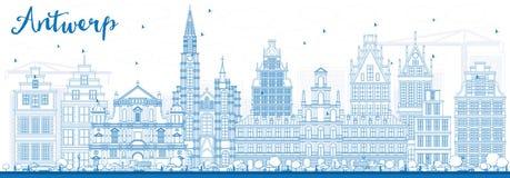 Konturu Antwerp linia horyzontu z Błękitnymi budynkami Zdjęcia Royalty Free