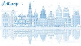 Konturu Antwerp linia horyzontu z Błękitnymi odbiciami i budynkami Zdjęcia Stock