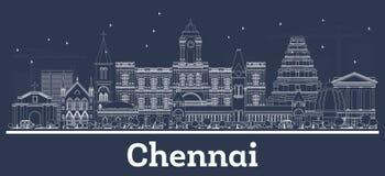 Konturu Chennai India miasta linia horyzontu z Białymi budynkami ilustracji