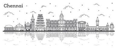 Konturu Chennai India miasta linia horyzontu z Historycznymi budynkami i R ilustracja wektor