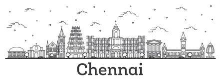 Konturu Chennai India miasta linia horyzontu z Historycznymi budynkami Isola ilustracji