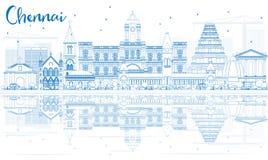 Konturu Chennai linia horyzontu z Błękitnymi odbiciami i punktami zwrotnymi ilustracji