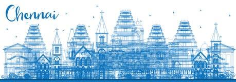 Konturu Chennai linia horyzontu z Błękitnymi punktami zwrotnymi ilustracja wektor