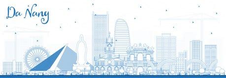 Konturu da nang Wietnam miasta linia horyzontu z Błękitnymi budynkami ilustracji