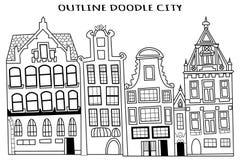 Konturu doodle miasta wektoru ilustracja Obraz Stock